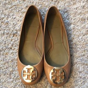 Tory Burch Reva flats in tan with gold hardware